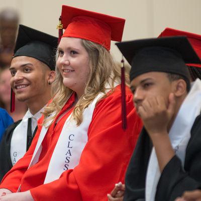 Gateway to College grads listening