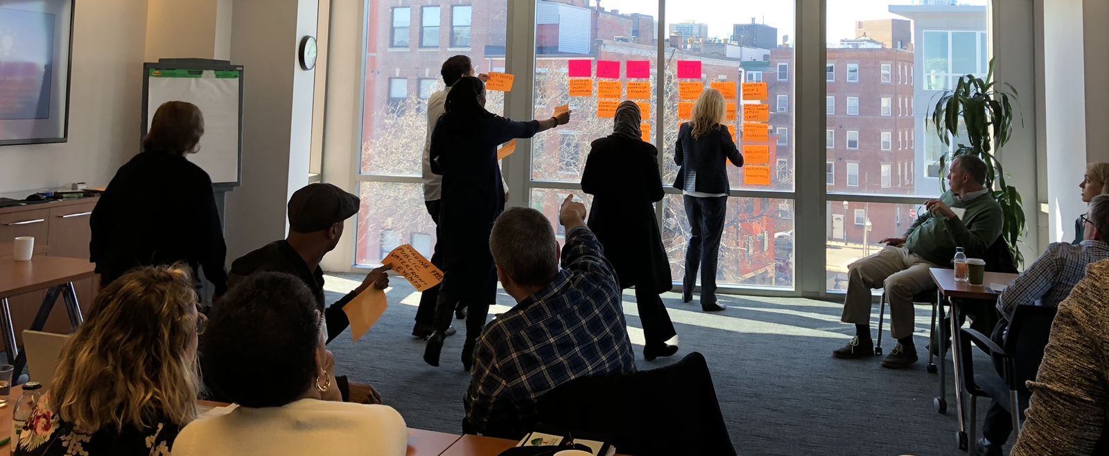Waterfront Grantees brainstorm together as a group.