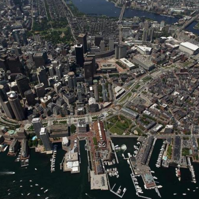 Boston waterfront aerial