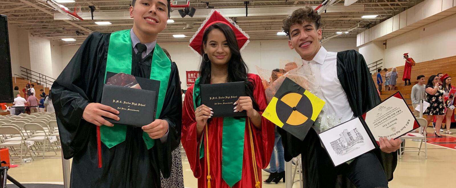 Three students graduate at Fall River high school.