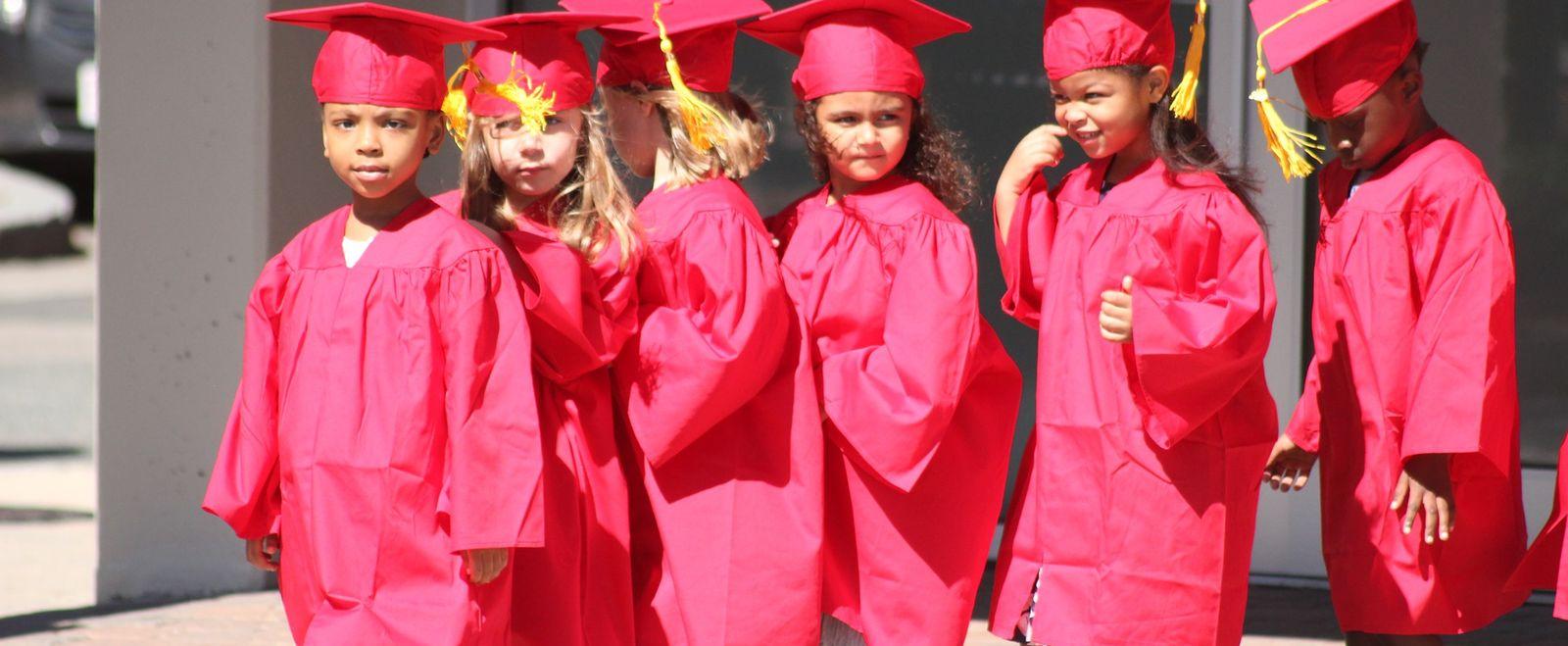 Preschoolers graduate from preschool.