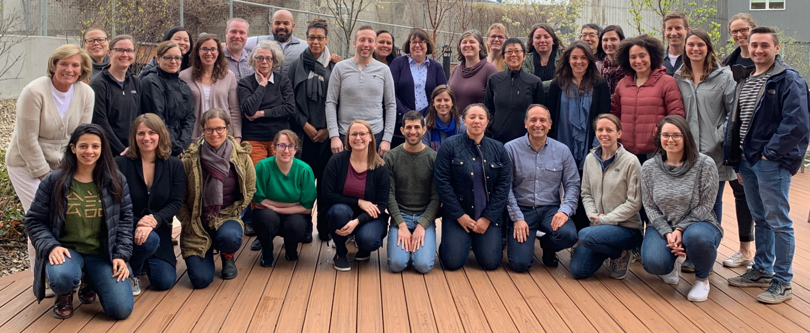 Group photo of Barr Foundation staff at Pau Arts Center in Boston's Chinatown for 2019 staff retreat