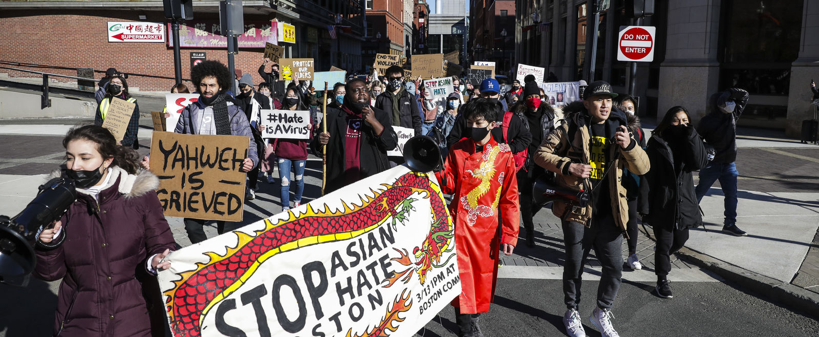 Young people protest anti-Asian violence in Boston.