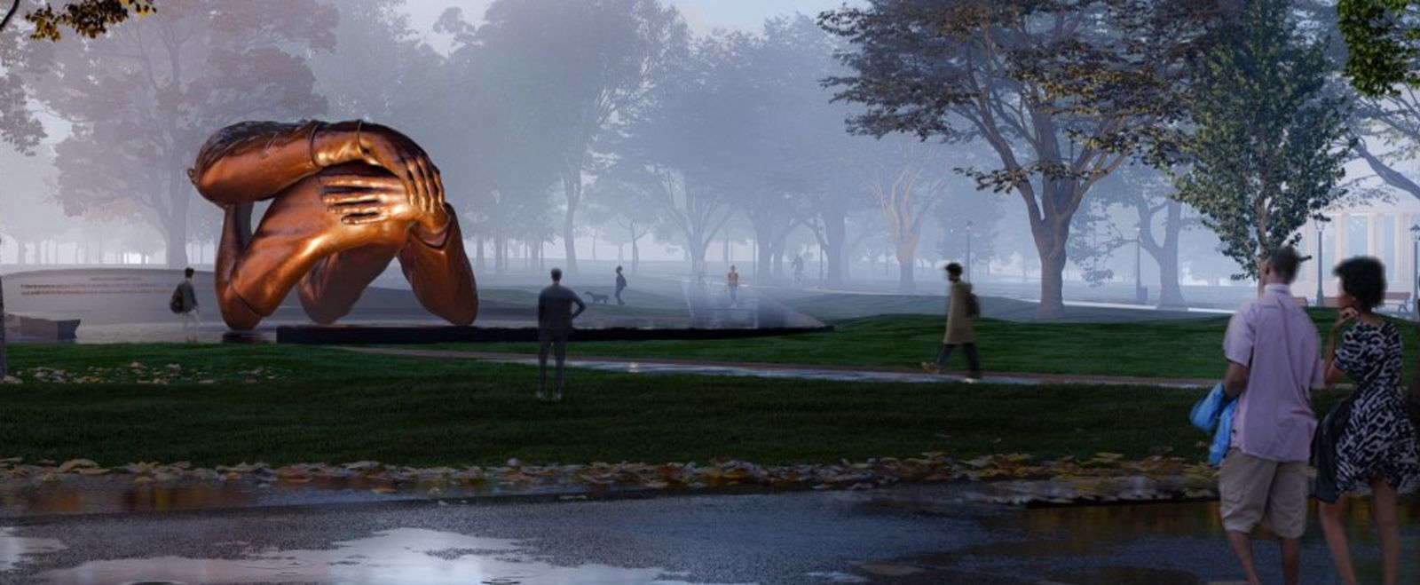 A mockup of The Embrace sculpture in Boston Common.