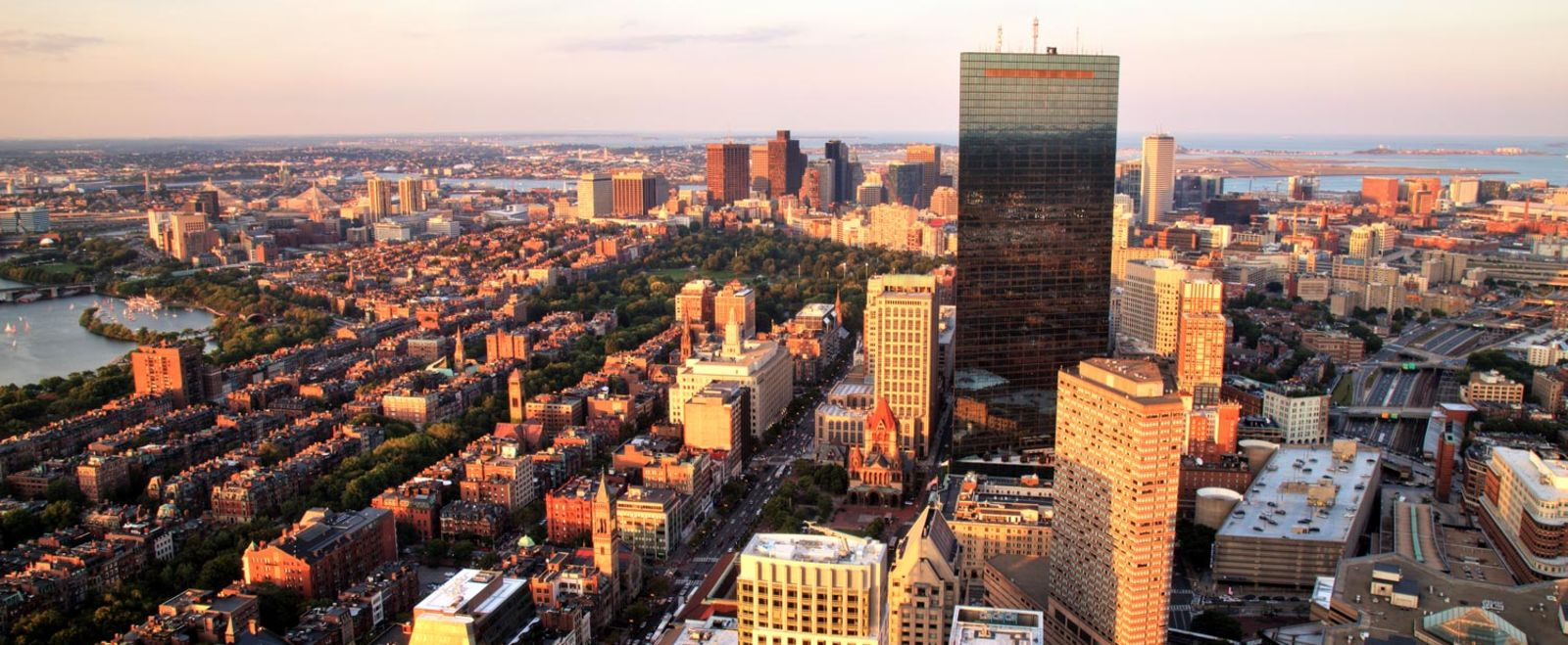 An aerial shot of the Boston Skyline