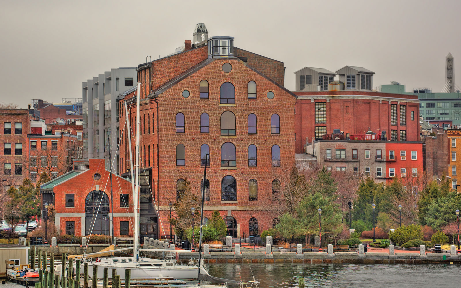 A view of Boston's historic Pilot House from the harbor
