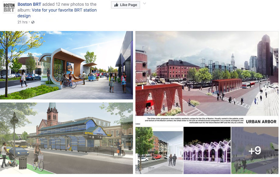 Renderings of designed BRT stations for Boston.