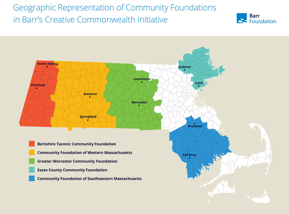 A map of Massachusetts, detailing the five regions where Creative Commonwealth will impact.