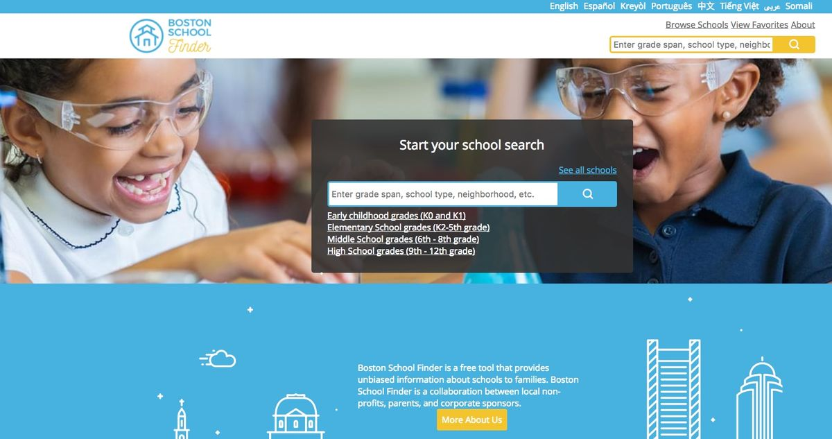 A screen capture of Boston School Finder's homepage.