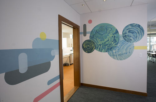 A photo of North End conference room mural.
