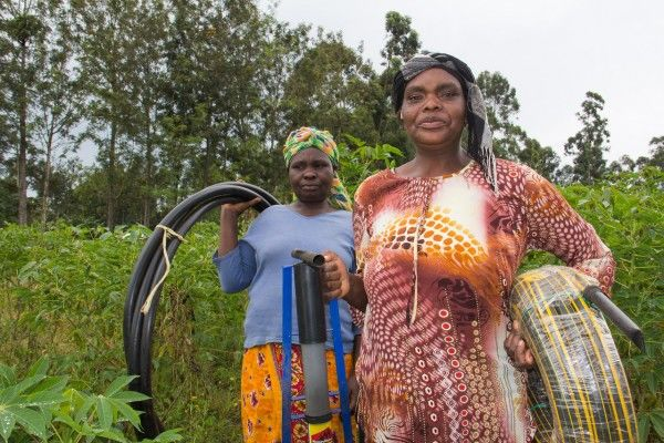 Moraq Nyamboke of Kitale Kenya after purchasing a KickStart manual water pump.