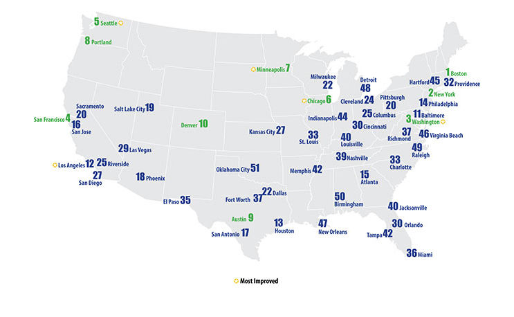 For Second Time Boston Named Nations Most EnergyEfficient City - All the cities in the us on a map