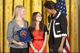 Zumix Executive Director Madeleine Steczynski with Michelle Obama